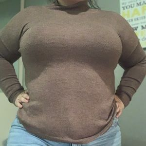 Brown turtle neck with sleeves